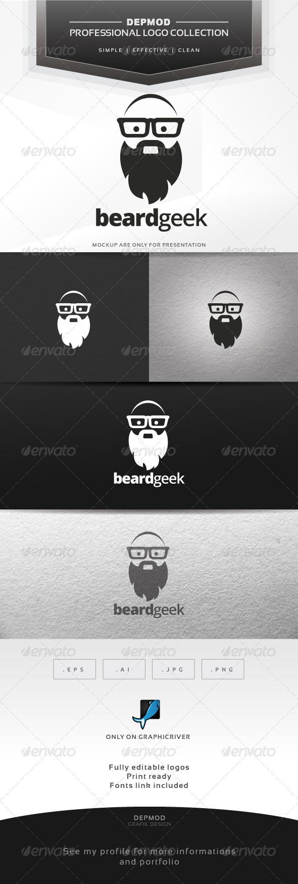 GraphicRiver Beard Geek Logo 6537219