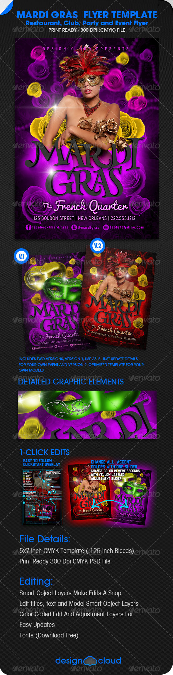 GraphicRiver Mardi Gras Event Flyer 6537228