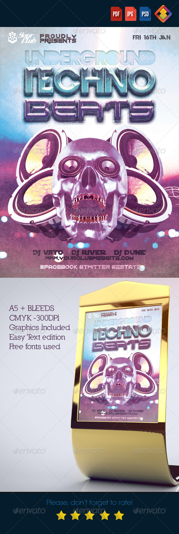 GraphicRiver Underground Techno Beats A5 Flyer 6537257