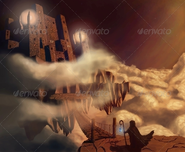 GraphicRiver Dark Castle in Clouds Fairytale Fantasy Landscape 6537427