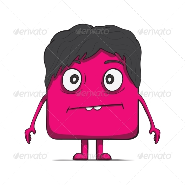 GraphicRiver Funny Cube Dude with Hair Square Character 6537430
