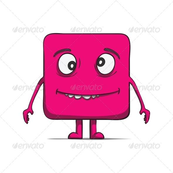 GraphicRiver Funny Stupid Cube Dude Square character 6537435