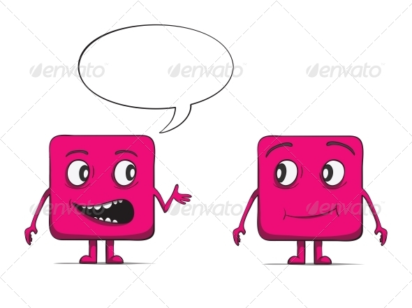 GraphicRiver Funny Cube Dudes Talking Square Characters 6537438