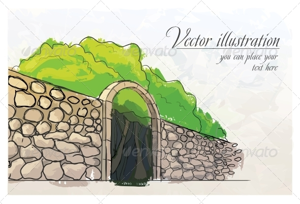 GraphicRiver Stone Wall in a Garden Watercolor Imitation 6537527
