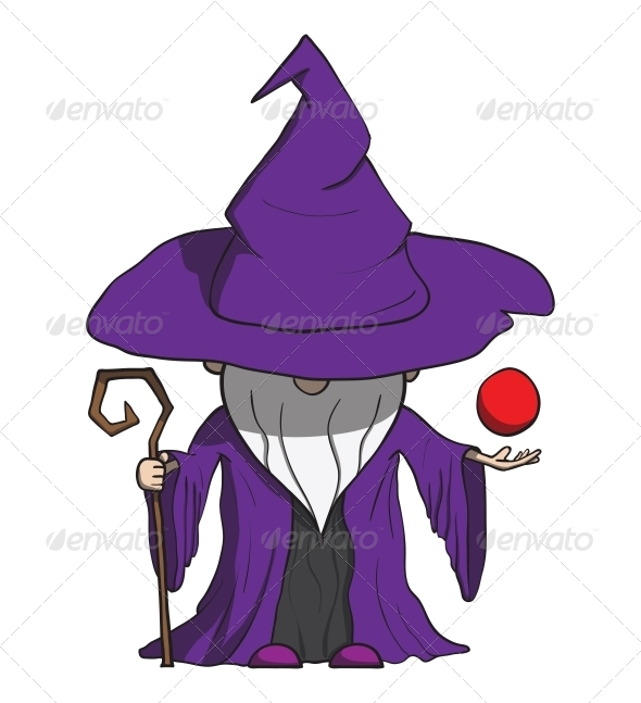 GraphicRiver Simple Cartoon Wizard with Staff Isolated on White 6537530