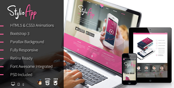 ThemeForest Stylio Responsive HTML5 App Landing Page 6535447
