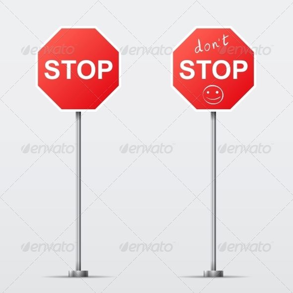 GraphicRiver Stop and Don t Stop Road Sign 6538487