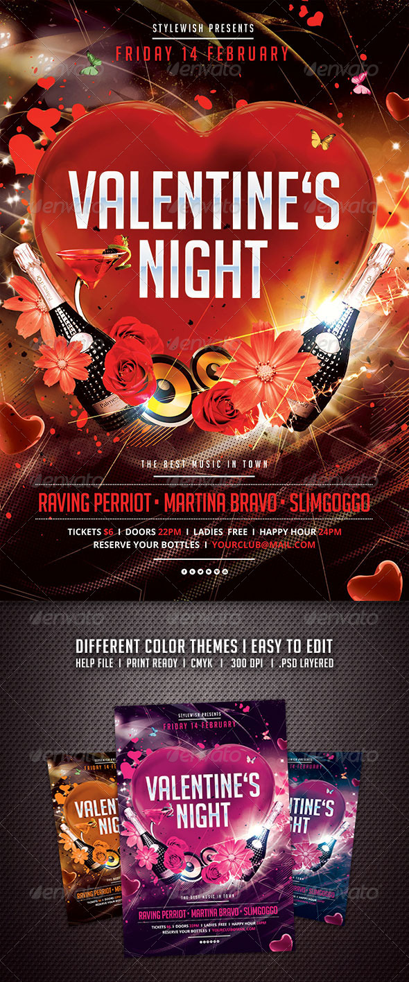 GraphicRiver Valentines Night Flyer 6538631