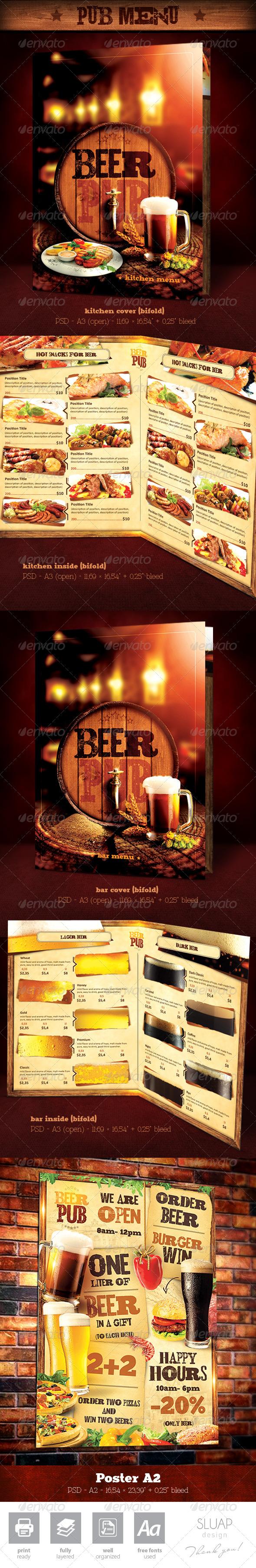 """Template Menu Design and Poster """"Beer Pub"""" - Food Menus Print Templates"""