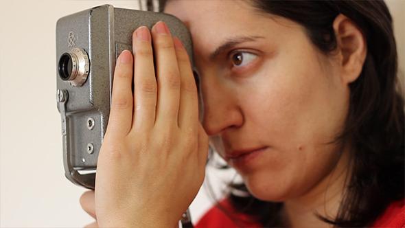 Girl Cameraman and Vintage Camera