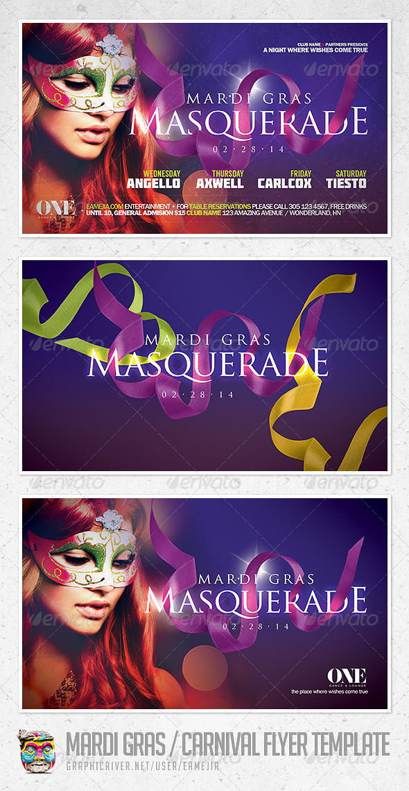Mardi Gras and Carnival Flyer Template - Events Flyers