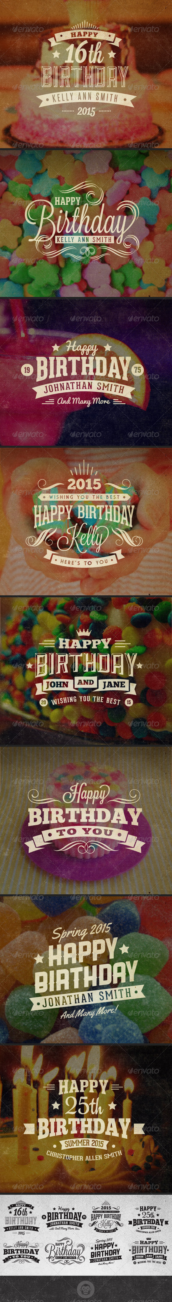 GraphicRiver Happy Birthday Vintage Labels and Badges 6539419