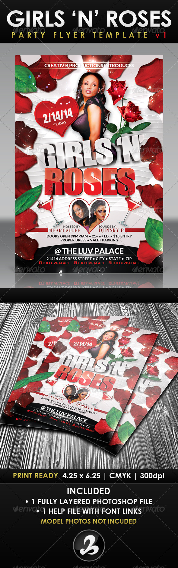 Girls 'N' Roses Valentine's Day Flyer Template 1