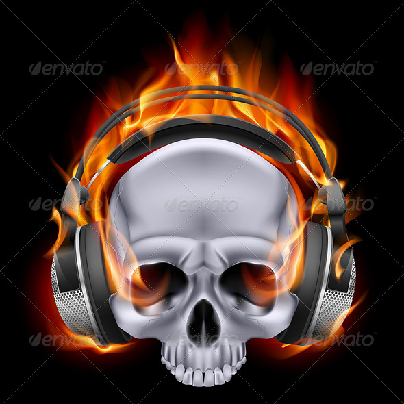 GraphicRiver Flaming Skull in Headphones 6539742