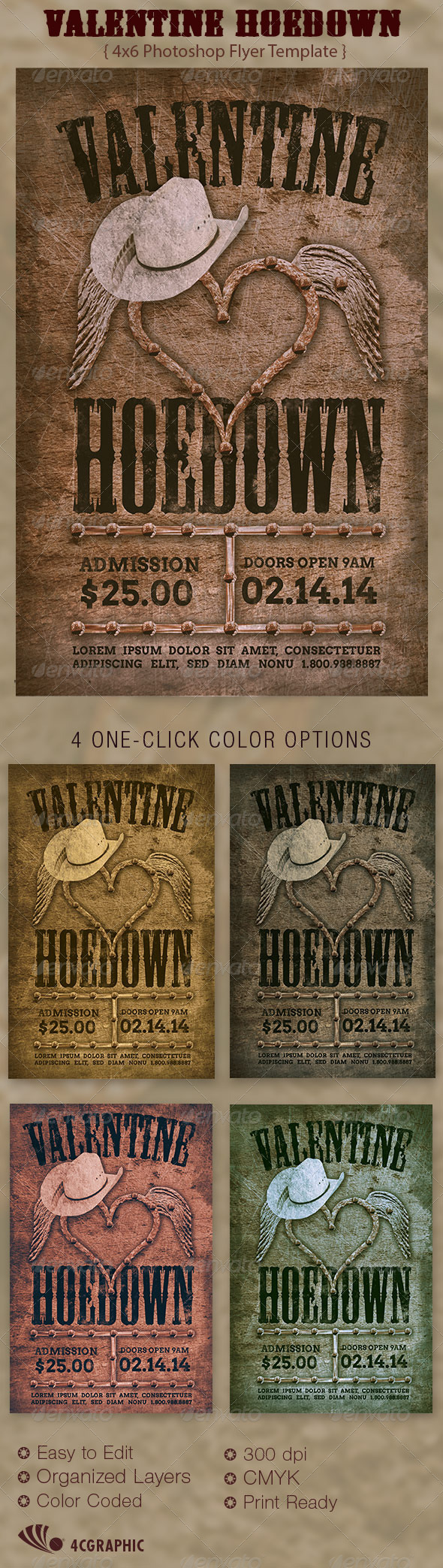 GraphicRiver Valentine Hoedown Country Flyer Template 6539790