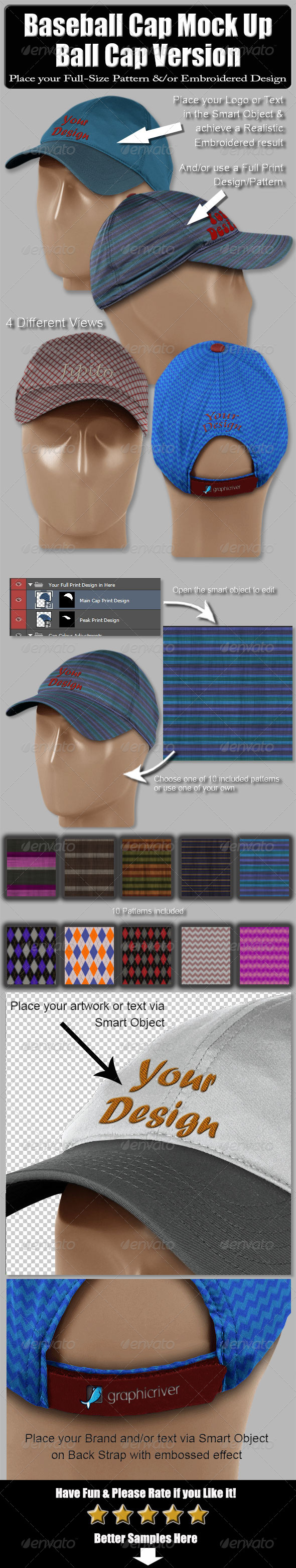 GraphicRiver Baseball Cap Mock Up-Ball Cap Version 6540360