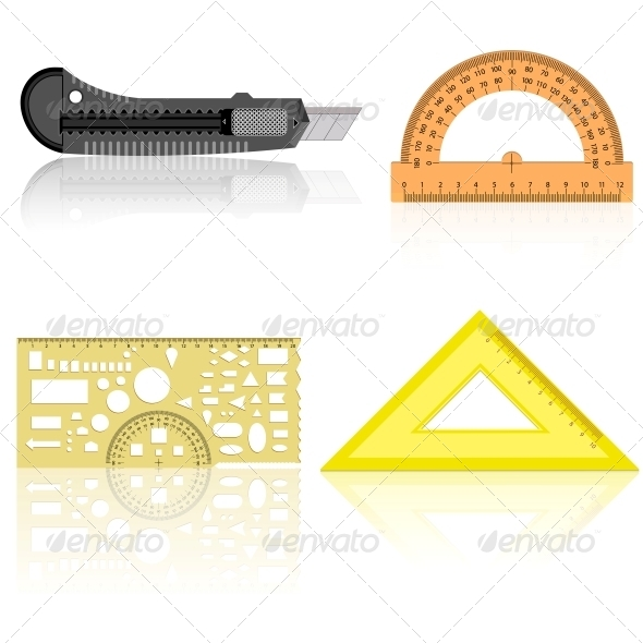 GraphicRiver Stationery Knife Ruler and Protractor 6540689