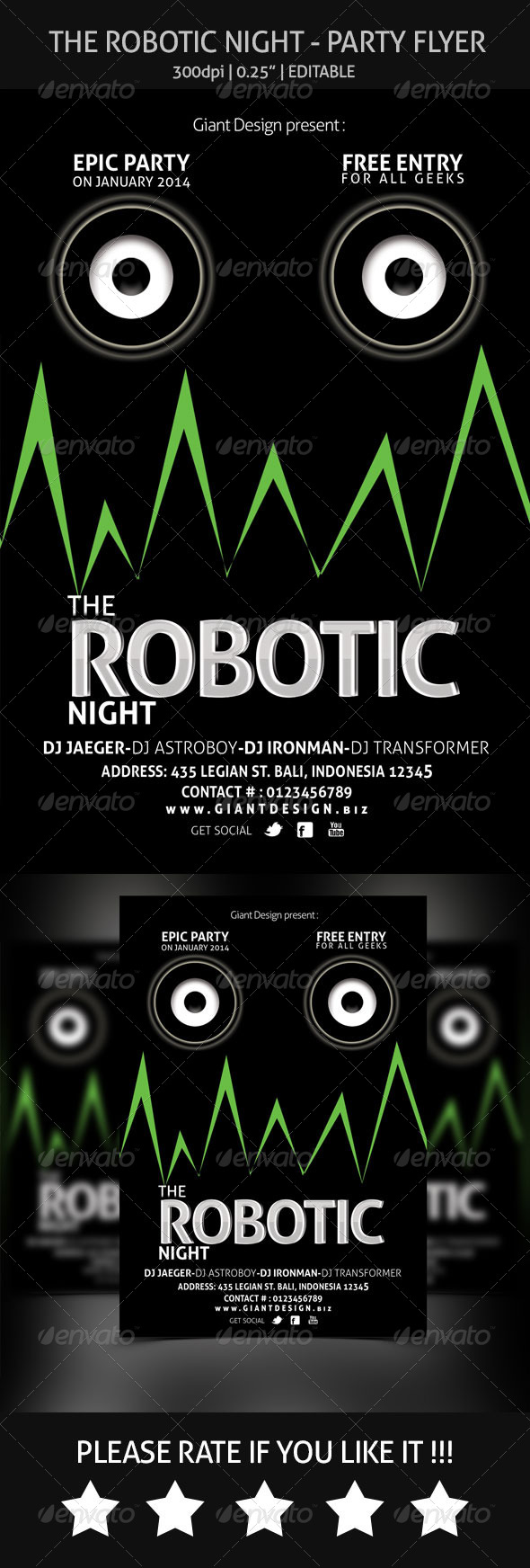 GraphicRiver The Robotic Night Flyer Party 6541129