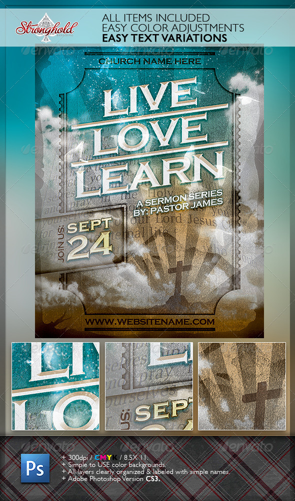 GraphicRiver Live Love Learn Church Flyer Template 6541243