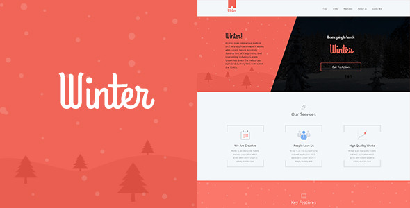 Winter One Page Colorful PSD Template