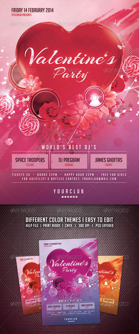 GraphicRiver Valentines Party Flyer 6517799