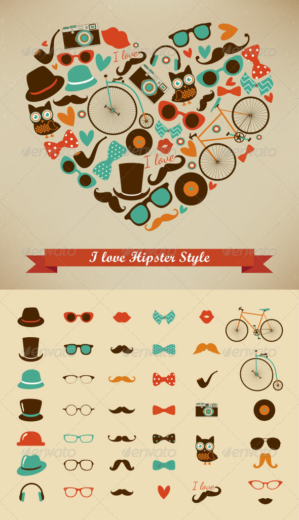 GraphicRiver I Love Hipster Style Illustration & Retro Icons 6542263
