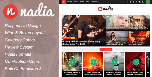 ThemeForest Nadia Responsive WordPress News Theme 6540890