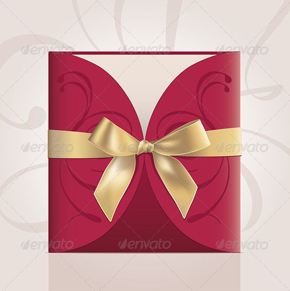 GraphicRiver Square Card in Envelope with Golden Ribbon 6542369