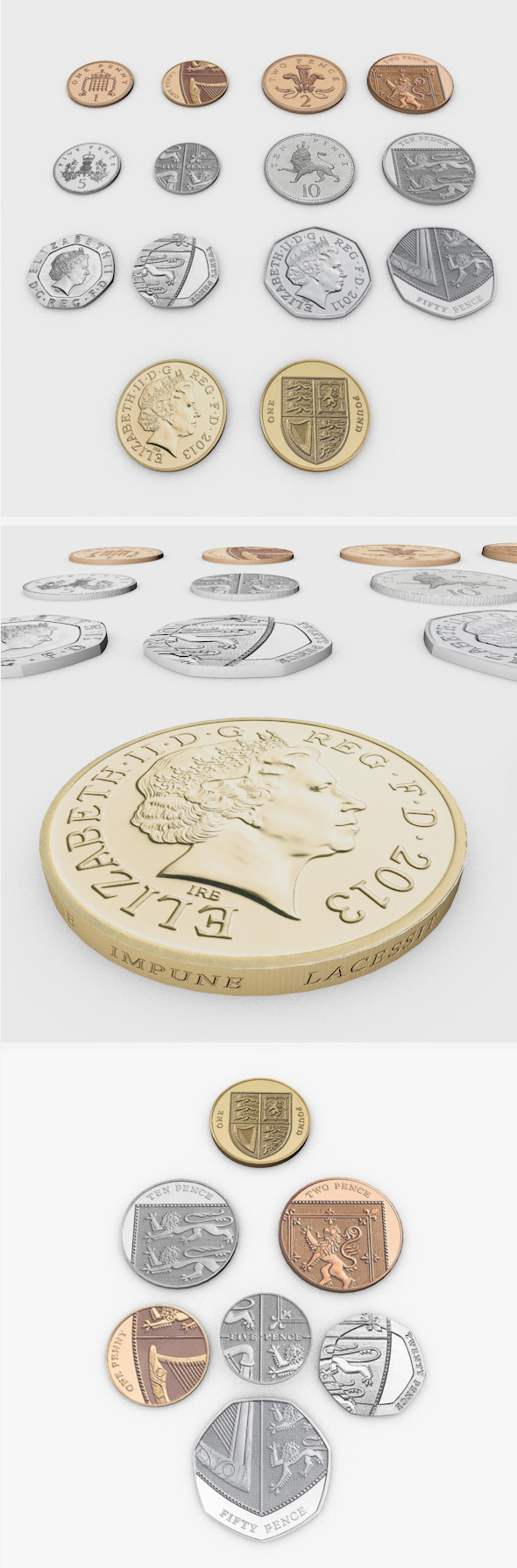British Pound Sterling Coins - 3DOcean Item for Sale
