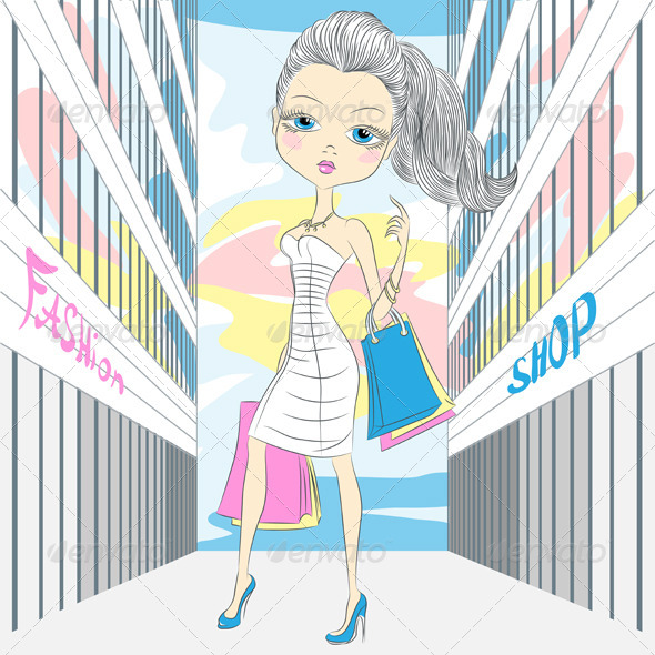 GraphicRiver Fashionable Girl Shopping 6542634