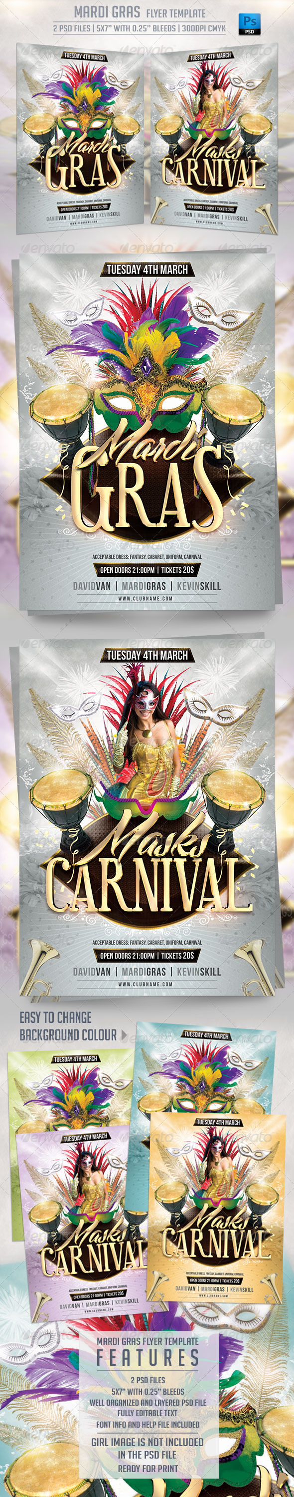 GraphicRiver Mardi Gras Flyer Template 6542856