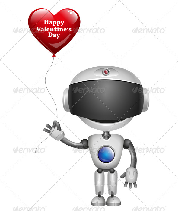 GraphicRiver Robot with Balloon Heart 6543400