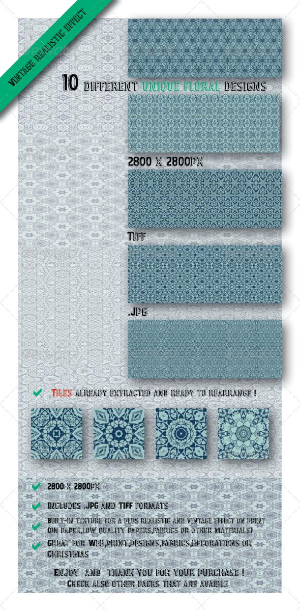 GraphicRiver 10 Unique Floral Patterns 6515213