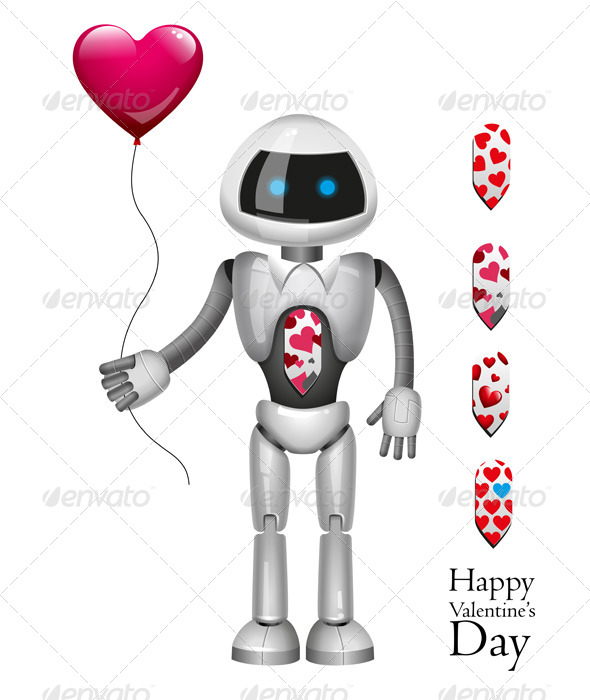 GraphicRiver Robot With Balloon Heart 6543470