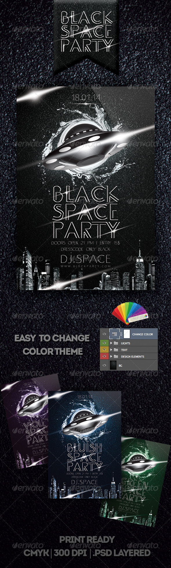 GraphicRiver Black Space Party Flyer 6516802