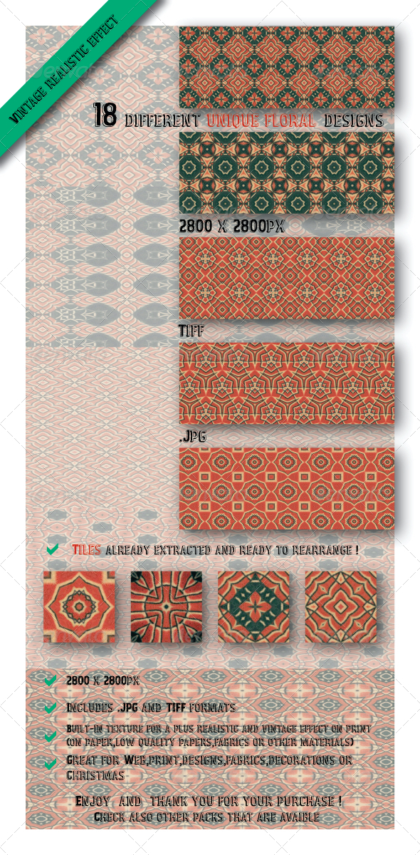 GraphicRiver 18 Unique Decorative Paper Fabric Patterns 6515186