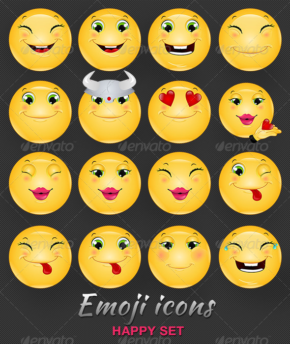 GraphicRiver Emoji Emoticon Happy Icons Set 6518395