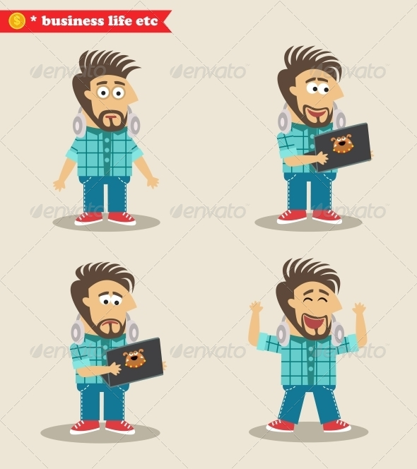 GraphicRiver Seasoned IT Guy Emotions in Poses 6544502