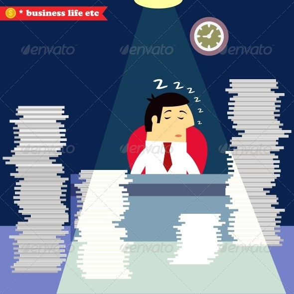 GraphicRiver Businessman Sleeping at the Desk 6544506