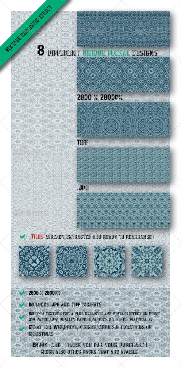 GraphicRiver 8 Unique Floral Vintage Paper Fabric Patterns 6544510