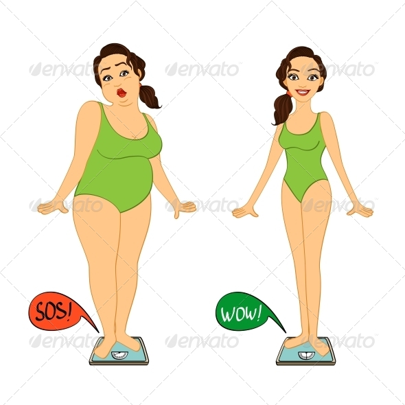 GraphicRiver Fat and Slim Woman on Weight Scales 6544519
