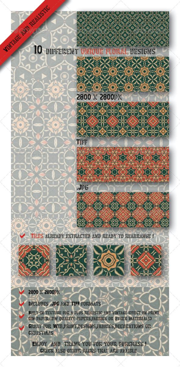 GraphicRiver 10 Unique Decorative Floral Tile Paper Patterns 6545287
