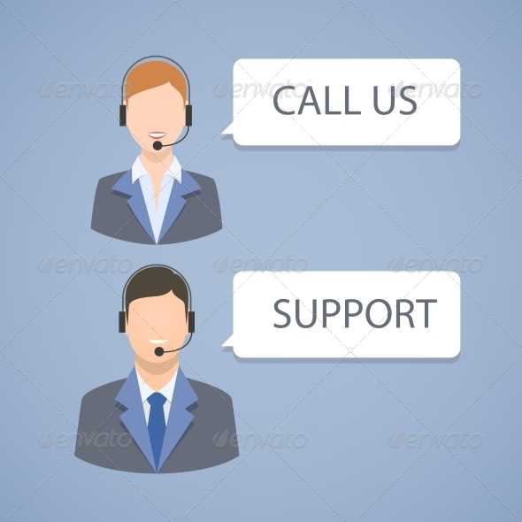 GraphicRiver Call Center Support Emblem 6545299