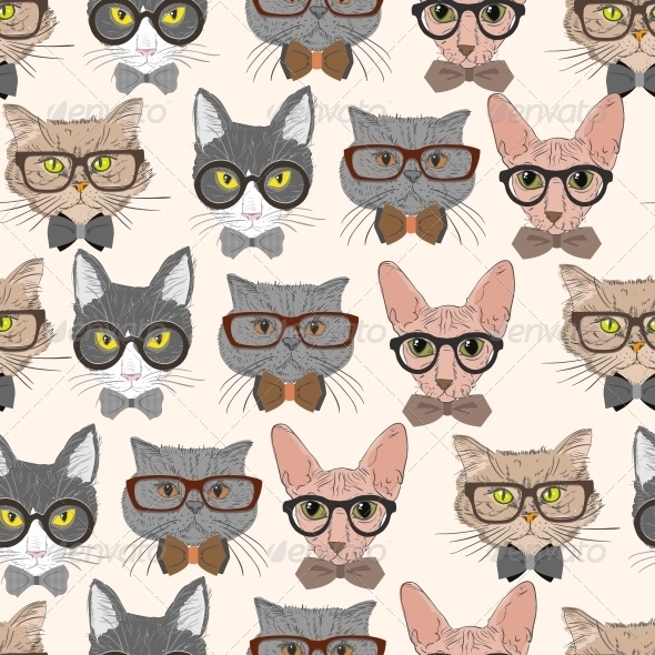 GraphicRiver Hipster Cat Pattern 6545373