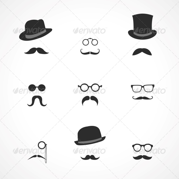 GraphicRiver Interface Elements Mustaches Hats and Glasses 6545376