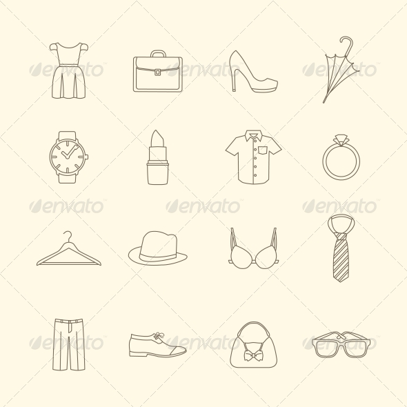 GraphicRiver Fashion and Clothes Accessories Icons 6545394