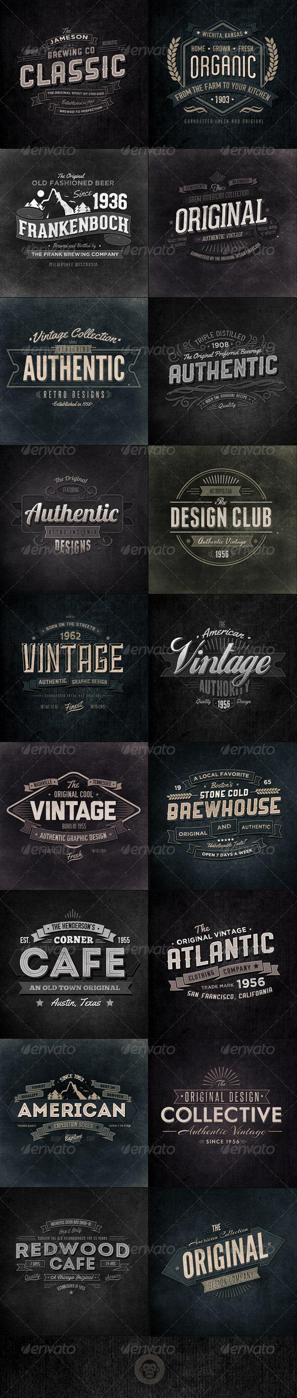 GraphicRiver 18 Retro Typographic Insignia and Badges Bundle 6545822