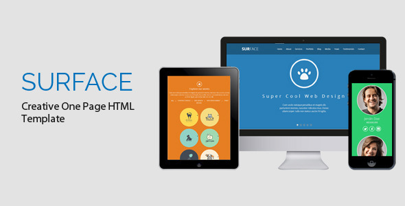 ThemeForest SURFACE Creative One Page HTML Template 6535820