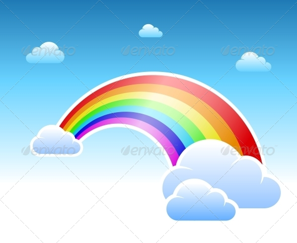 GraphicRiver Abstract Rainbow and Clouds Symbol 6545916