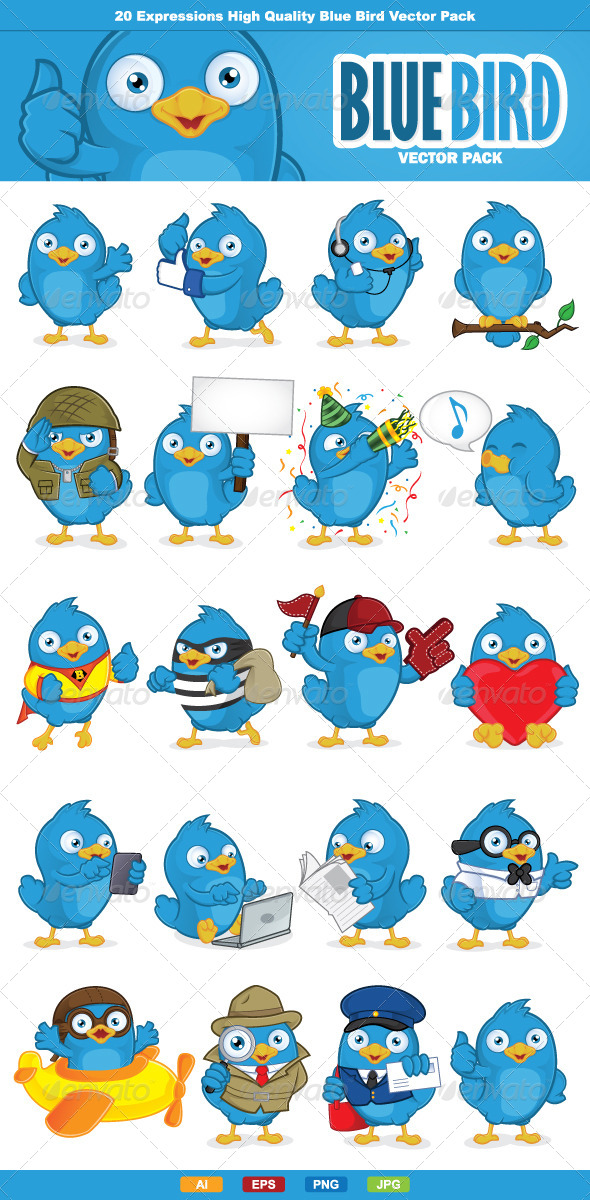 GraphicRiver Blue Bird Vector Pack 6545923